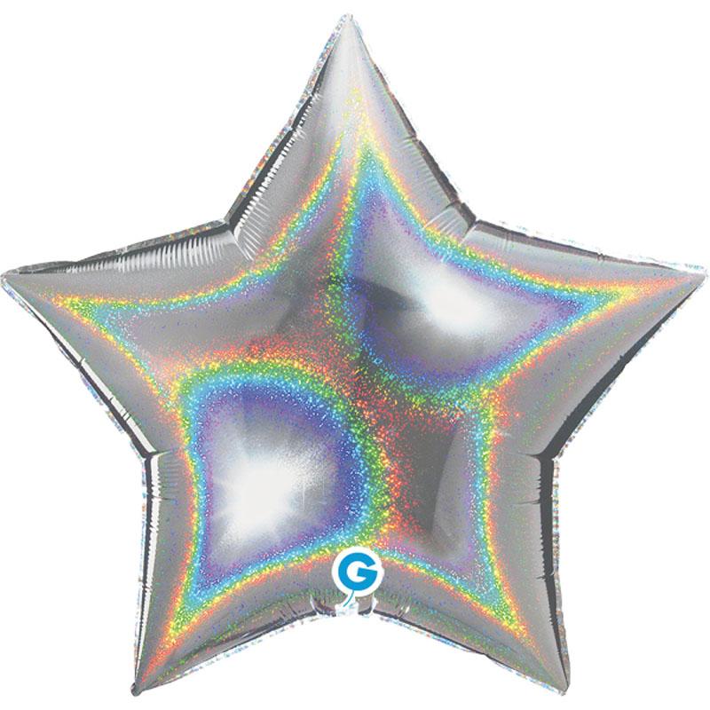 Ballon étoile holographique argent en aluminium