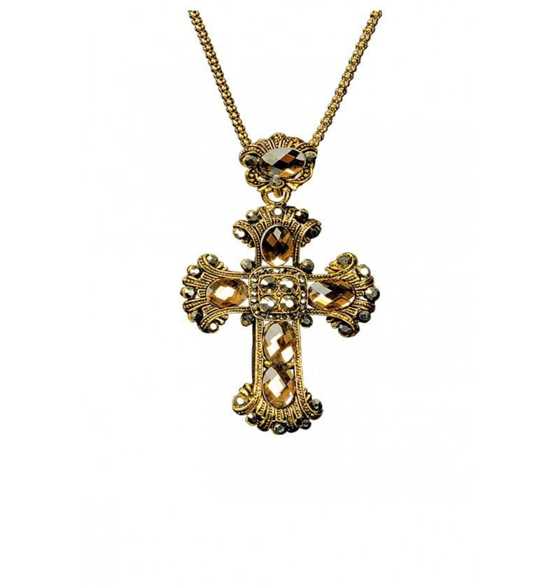 Collier croix gothique avec strass