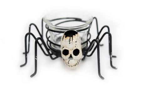Bougeoir araignée et tête de mort