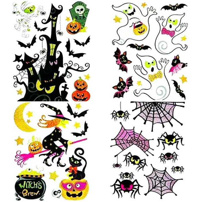 4 PLACHES DE STICKERS HALLOWEEN