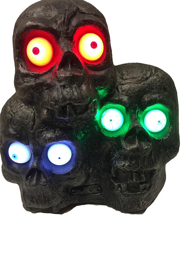 Décors 3 têtes de morts sonores et lumineuses