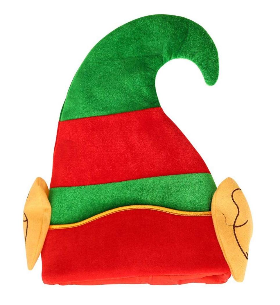 Chapeau de lutin rouge et vert avec oreilles
