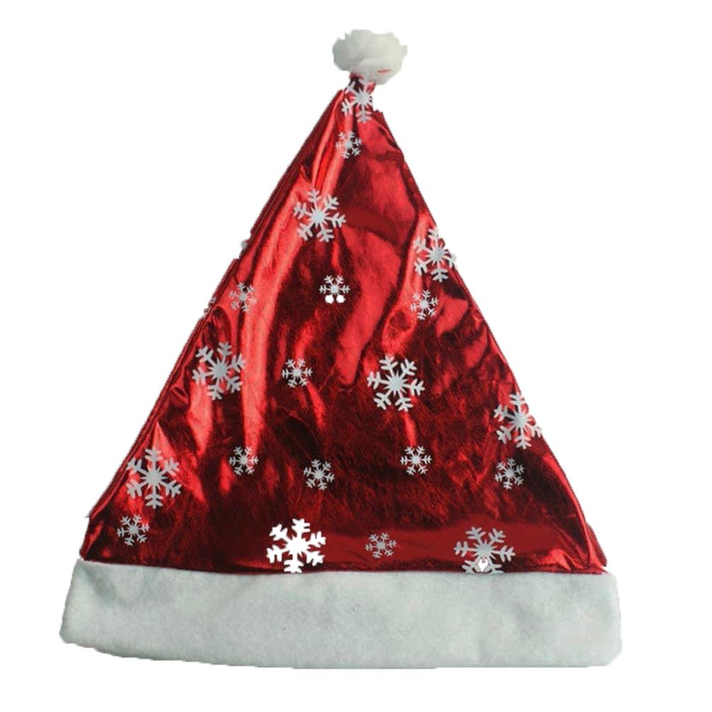 Bonnet de Noel métallisé rouge avec flocons