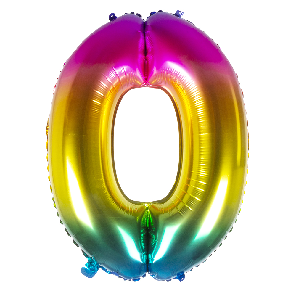 Ballon geant mylar rainbow chiffre 0