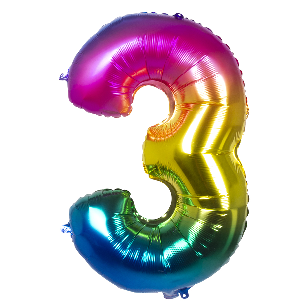 Ballon geant mylar rainbow chiffre 3