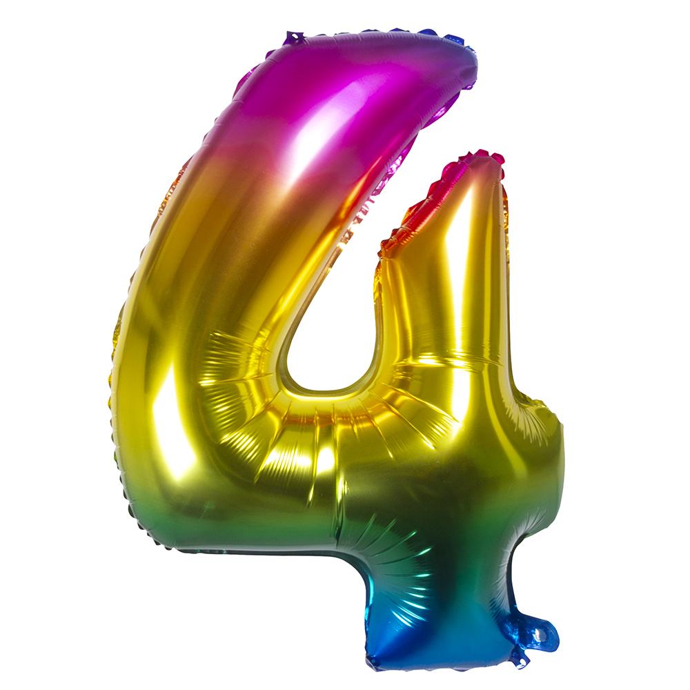 Ballon geant mylar rainbow chiffre 4