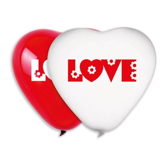 2 ballons coeurs latex love