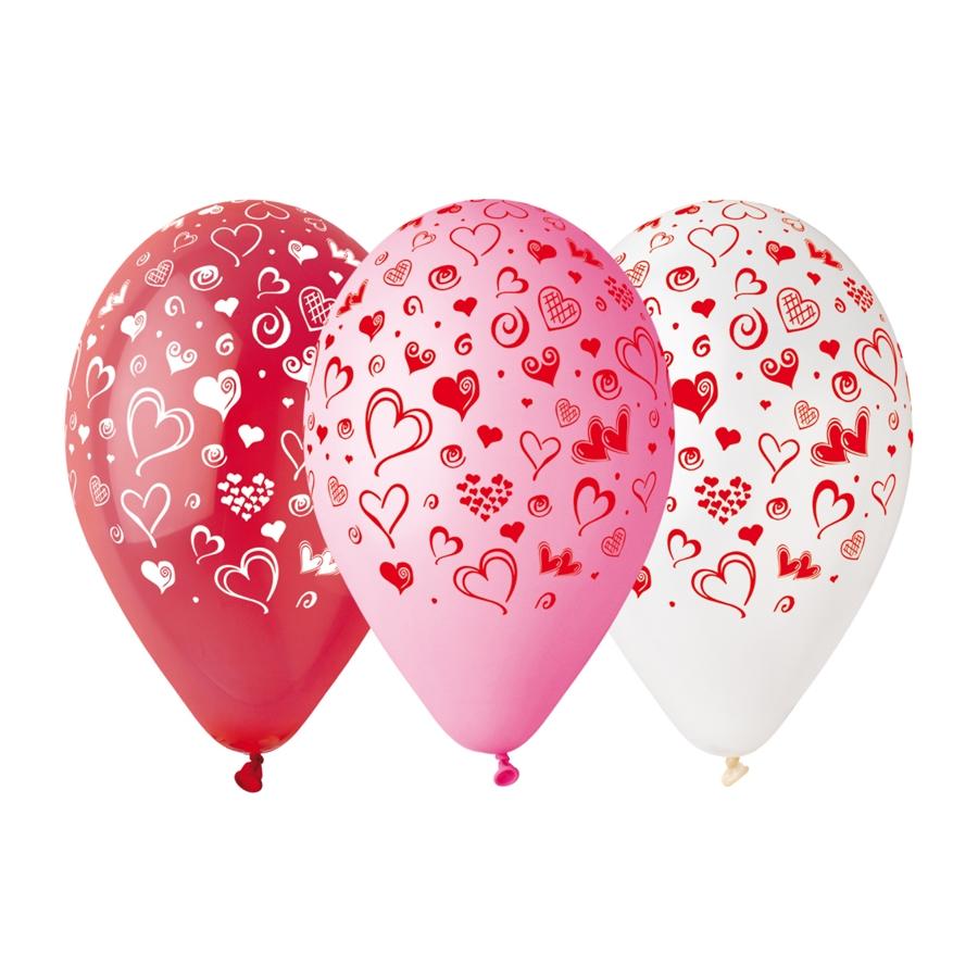 10 ballons latex imprimés coeurs
