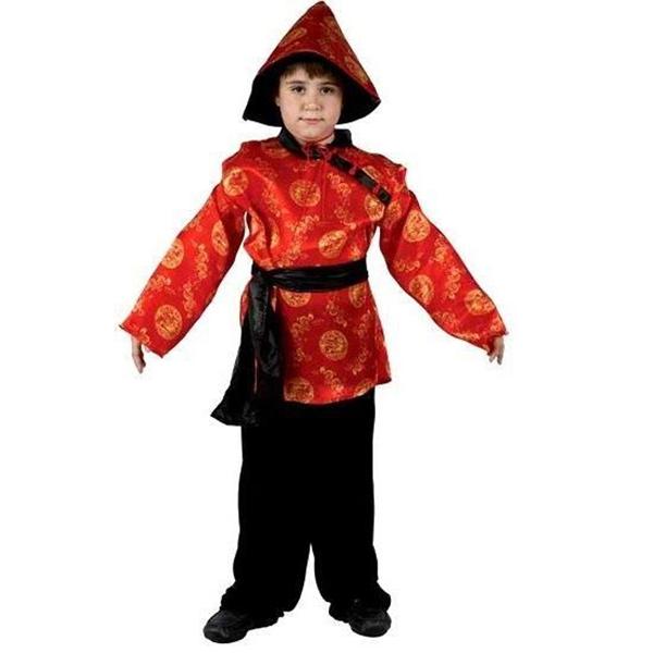 Déguisement chinois pour enfant rouge et noir