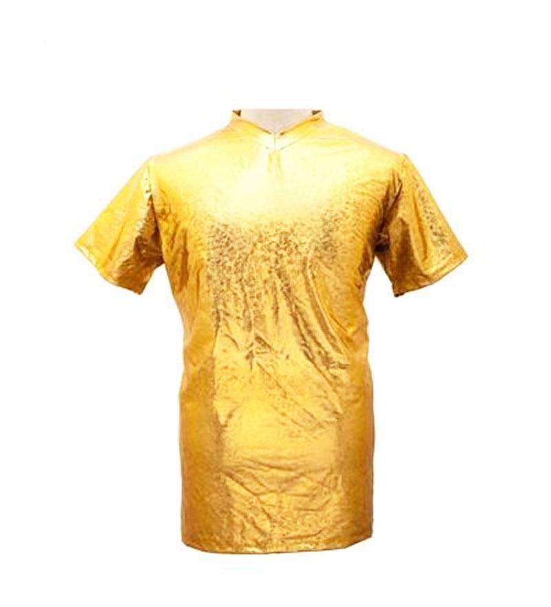 Tee shirt homme métallisé laser or