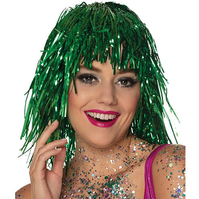 Perruque métallisée verte