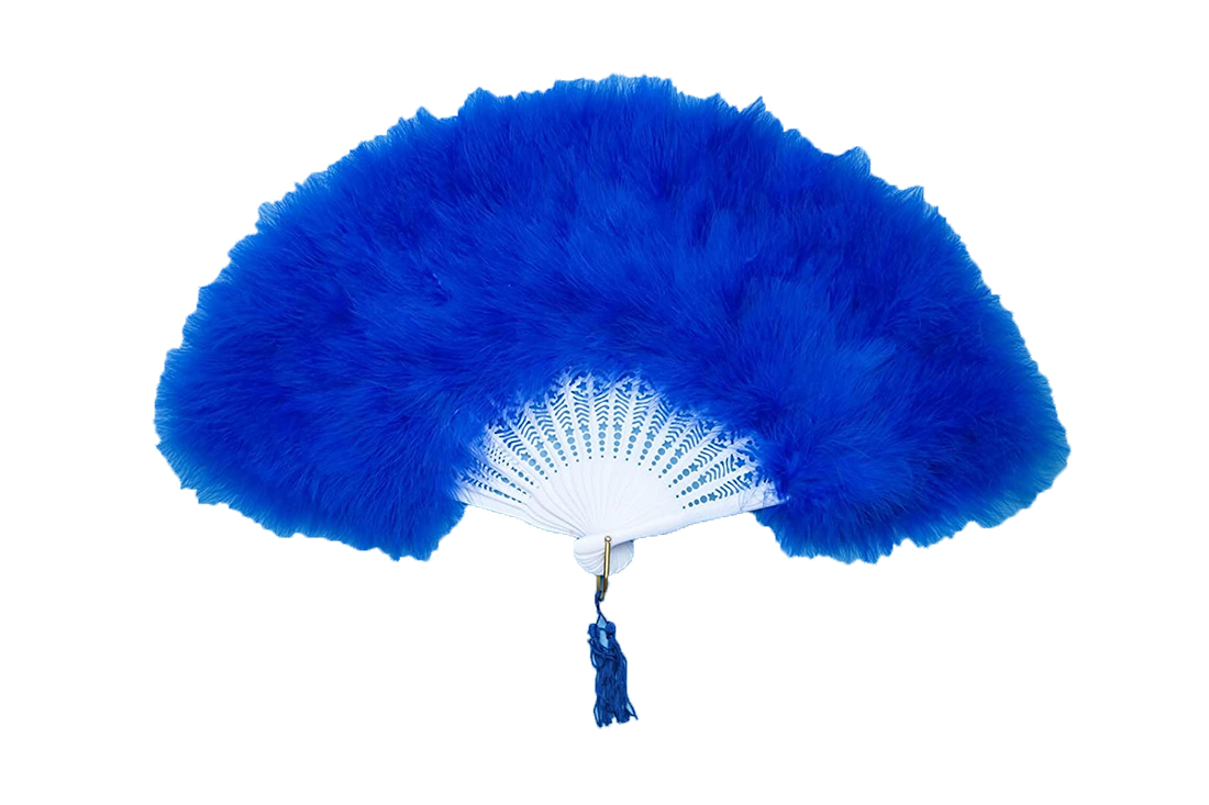 Eventail en plumes bleu royal