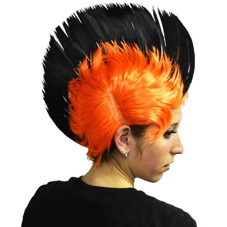 Perruque punk orange et noire
