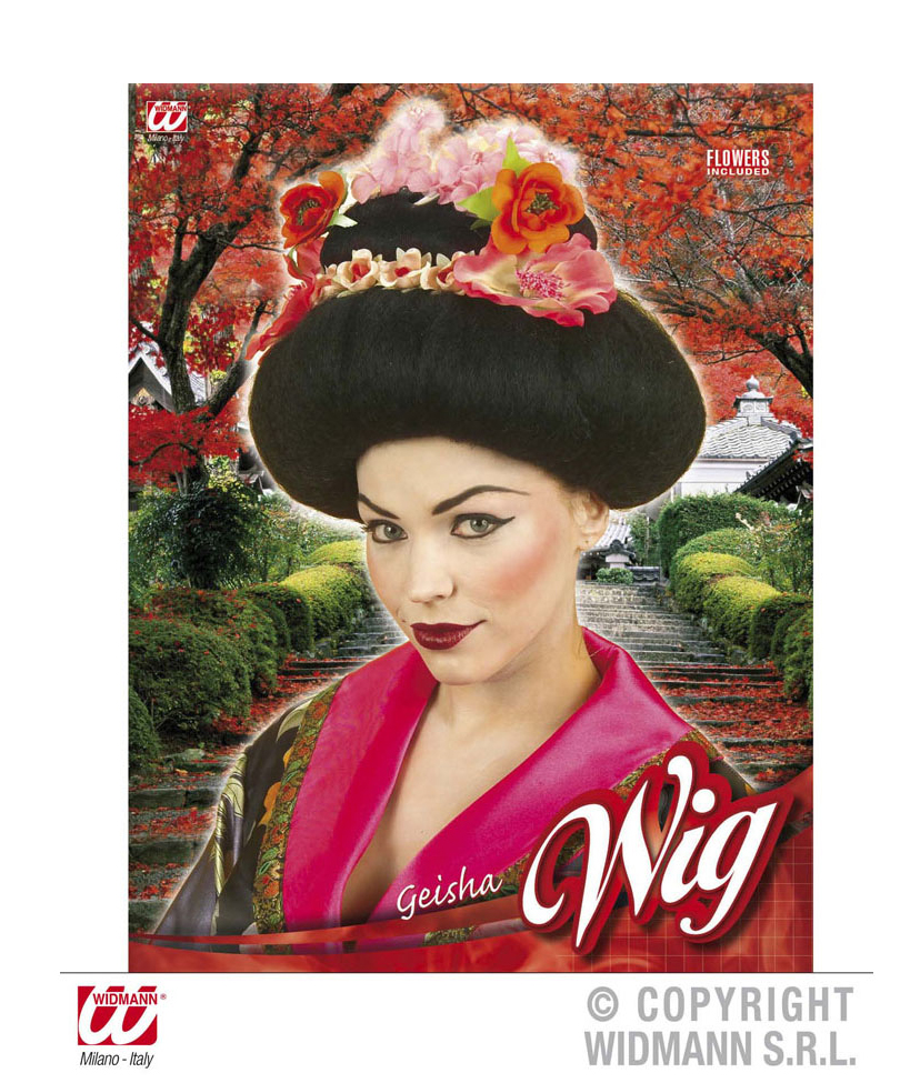 Perruque de geisha avec fleurs