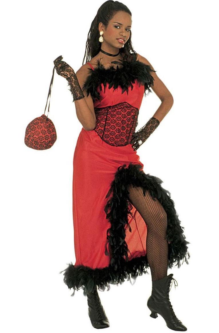 Déguisement saloon girl rouge et noir