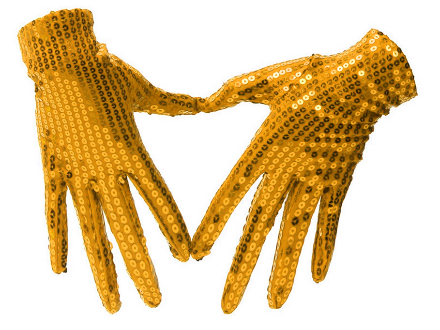Gants à sequins or adulte