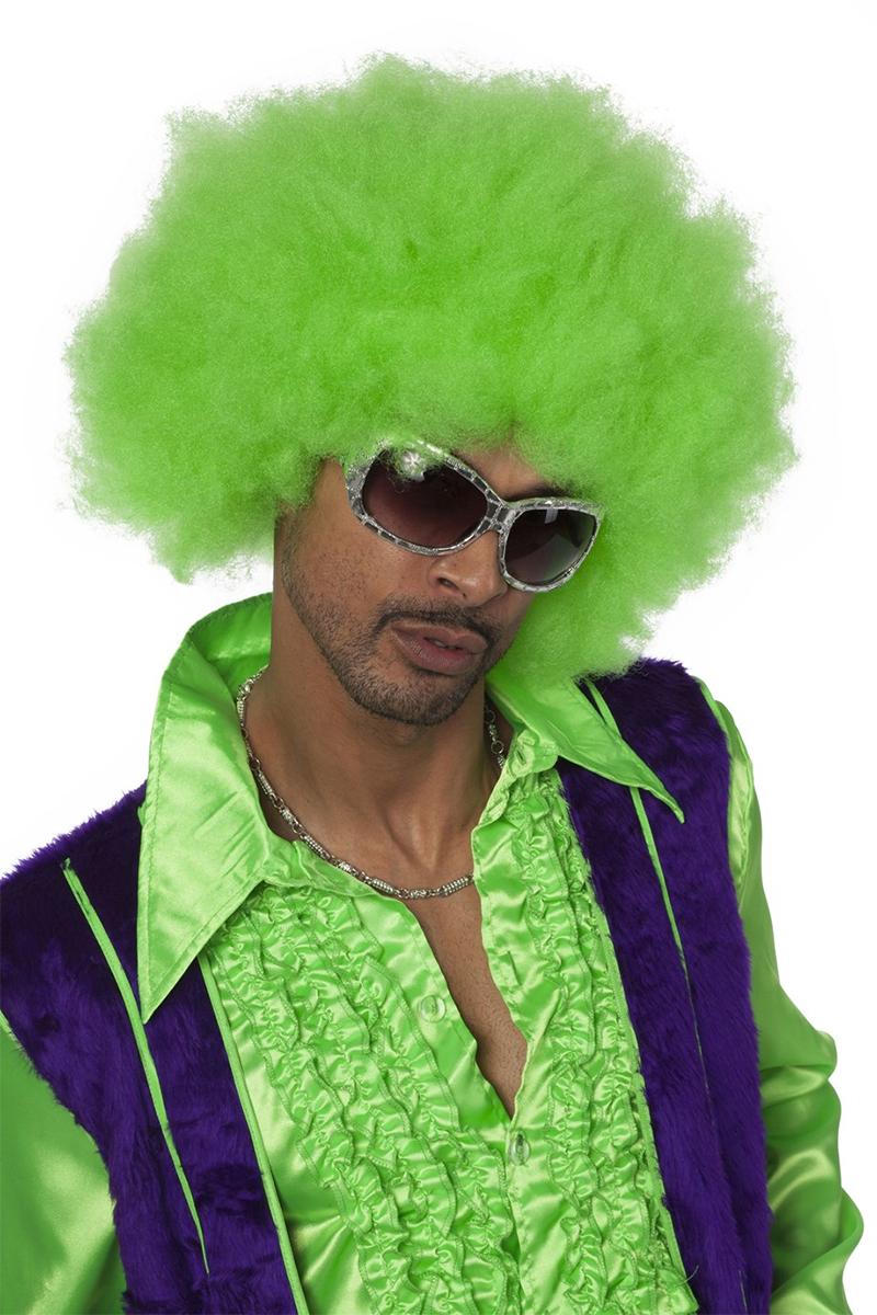 Perruque afro XL vert fluo