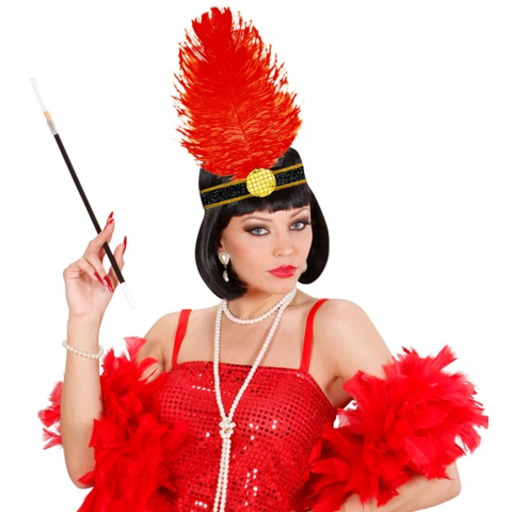 Bandeau charleston plumes rouges