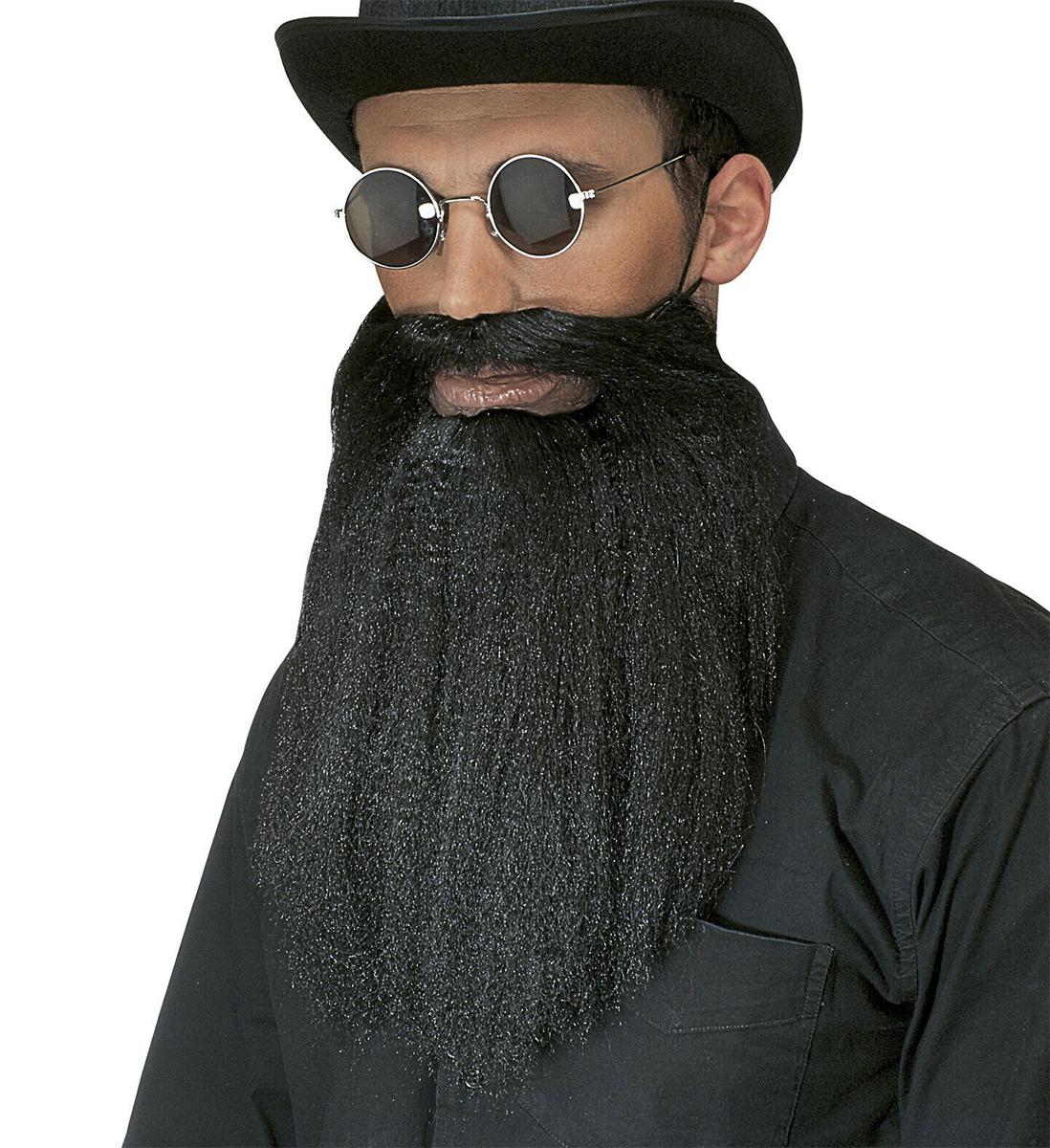 Barbe et moustaches noires avec lèvres