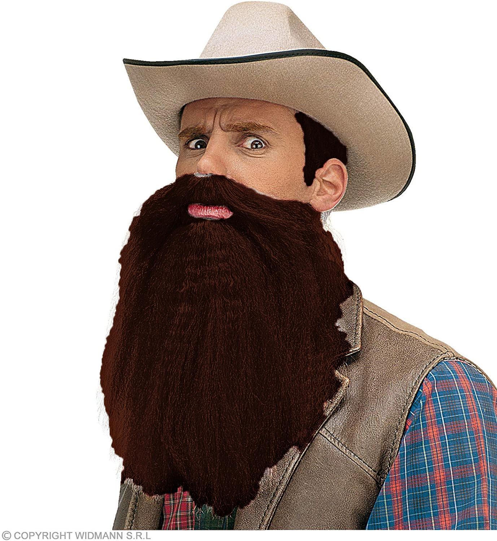 Barbe et moustache châtain foncé avec lèvres
