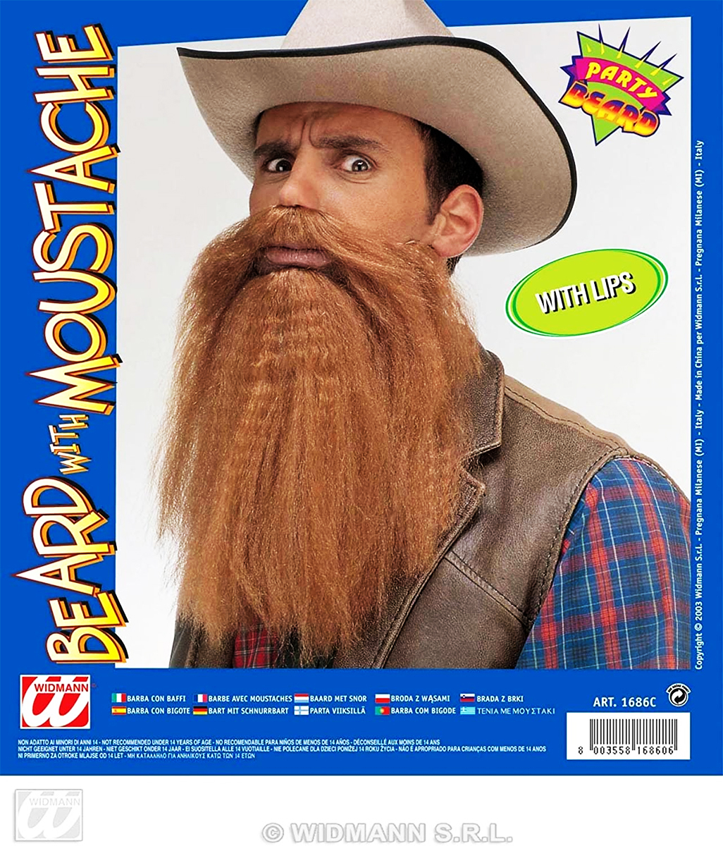 Barbe et moustache rousse avec lèvres