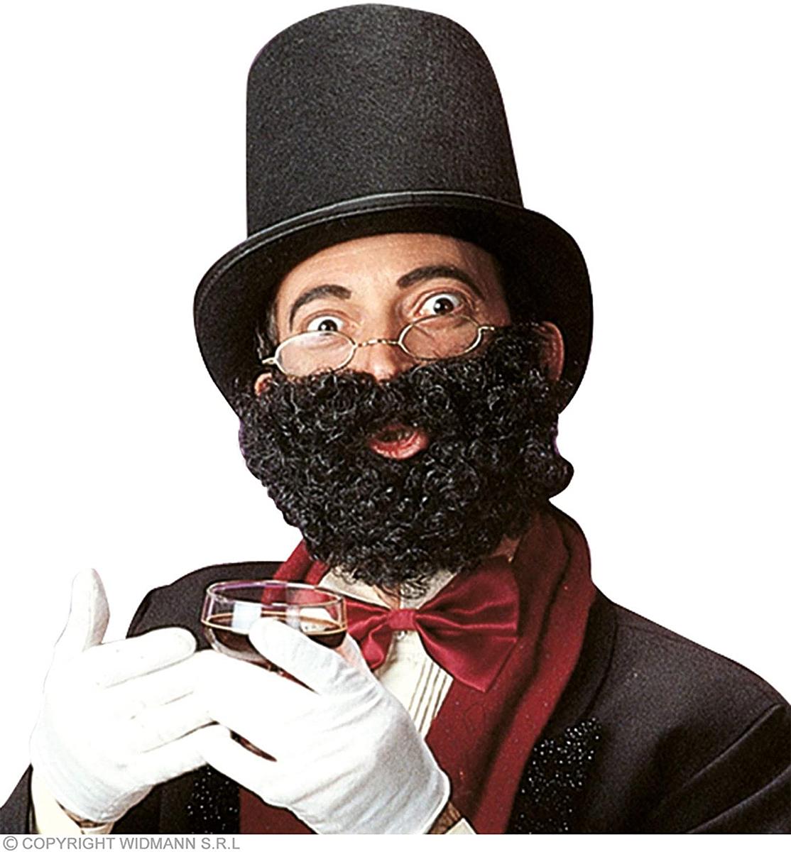 Barbe et moustache frisées noire
