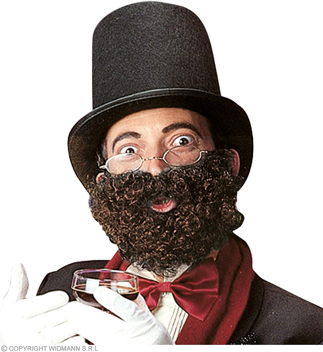 Barbe et moustache frisées châtain foncé