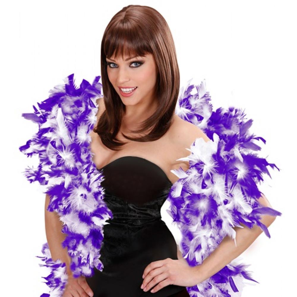 Boa bicolore en plumes violet et blanc 180 cm