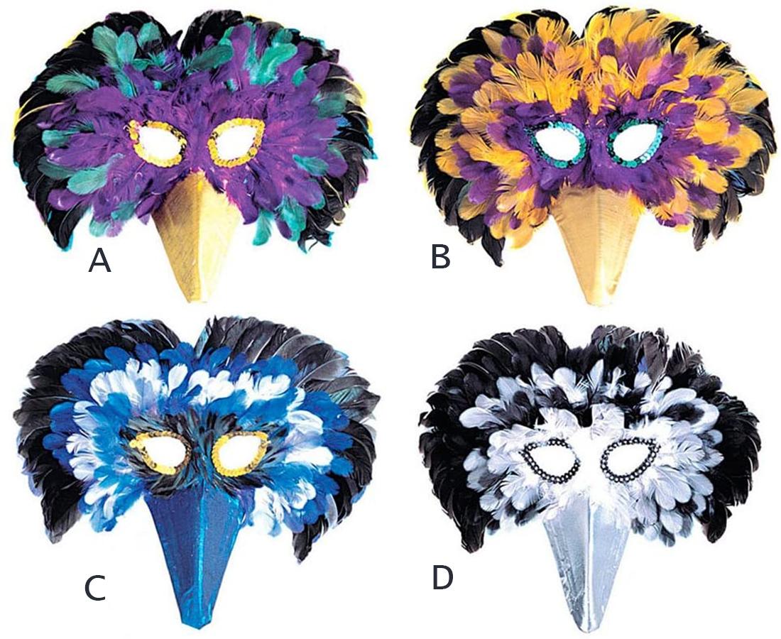 Masque d\'oiseau en plumes bleues et vertes