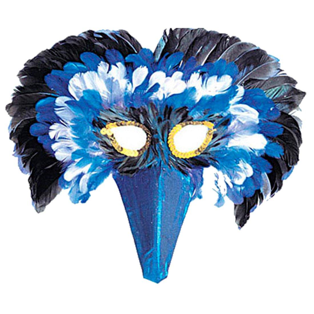 Masque d\'oiseau en plumes bleues