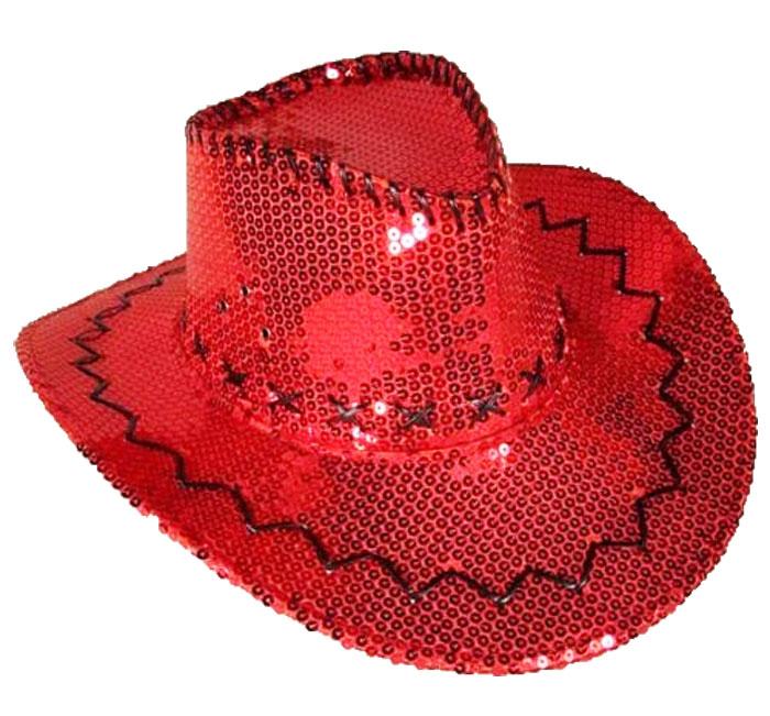 Chapeau western à paillettes rouges