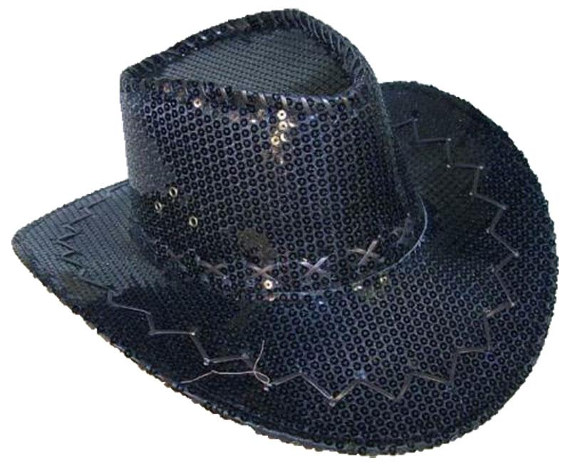 Chapeau western à paillettes noires
