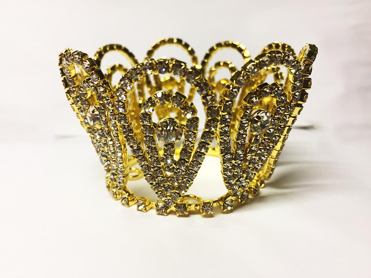 Mini couronne dorée en strass