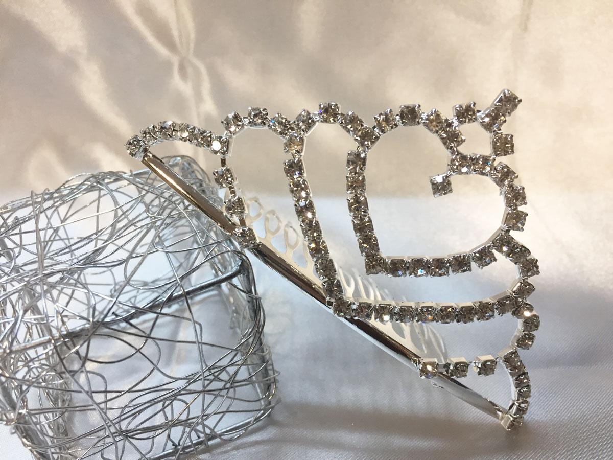 Mini diadème en strass cristal sur peigne