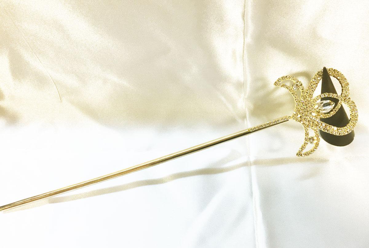 Baguette de fée or avec strass en cristal