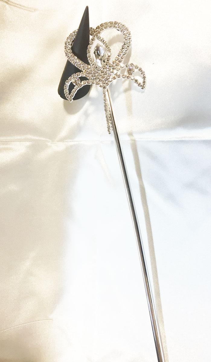 Baguette de fée argent avec strass en cristal