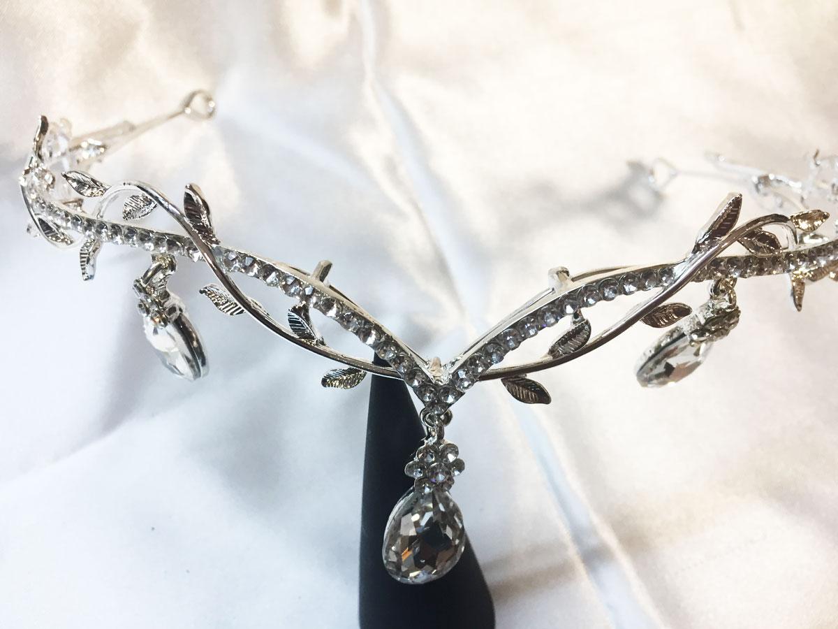 Diadème elfe en métal argent et strass cristal
