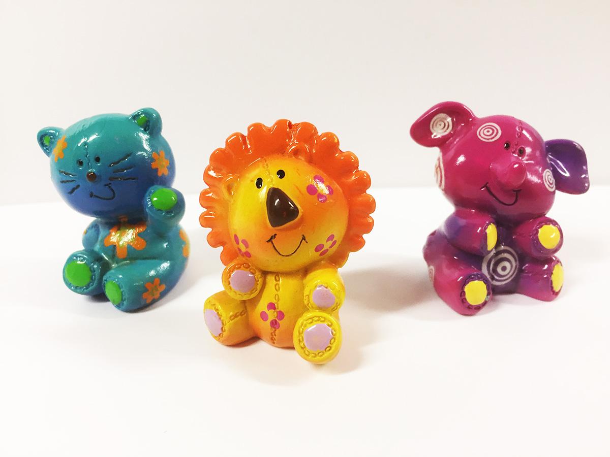 3 mini sujets thème animaux