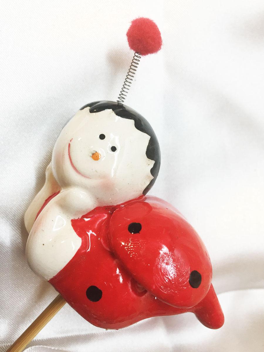 3 Figurines coccinelles en céramique