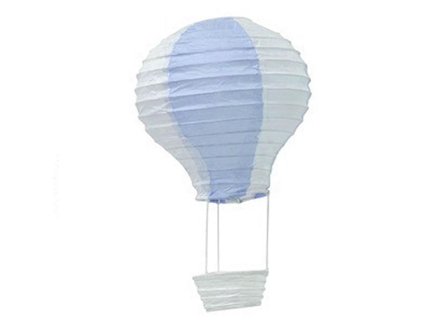 3 Montgolfières bleue et blanche à suspendre