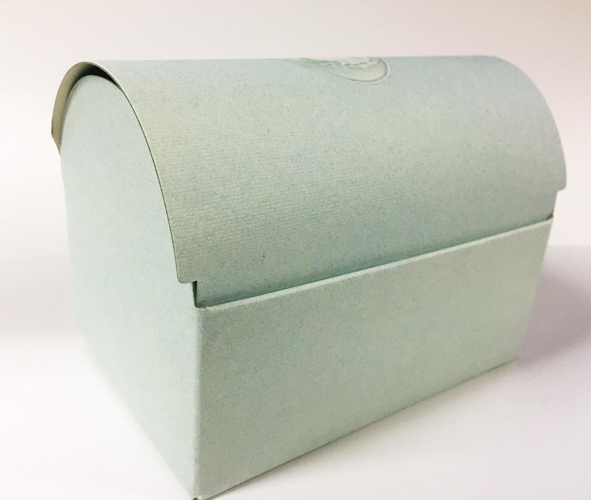 2 mini Coffres en carton bleu ciel ourson