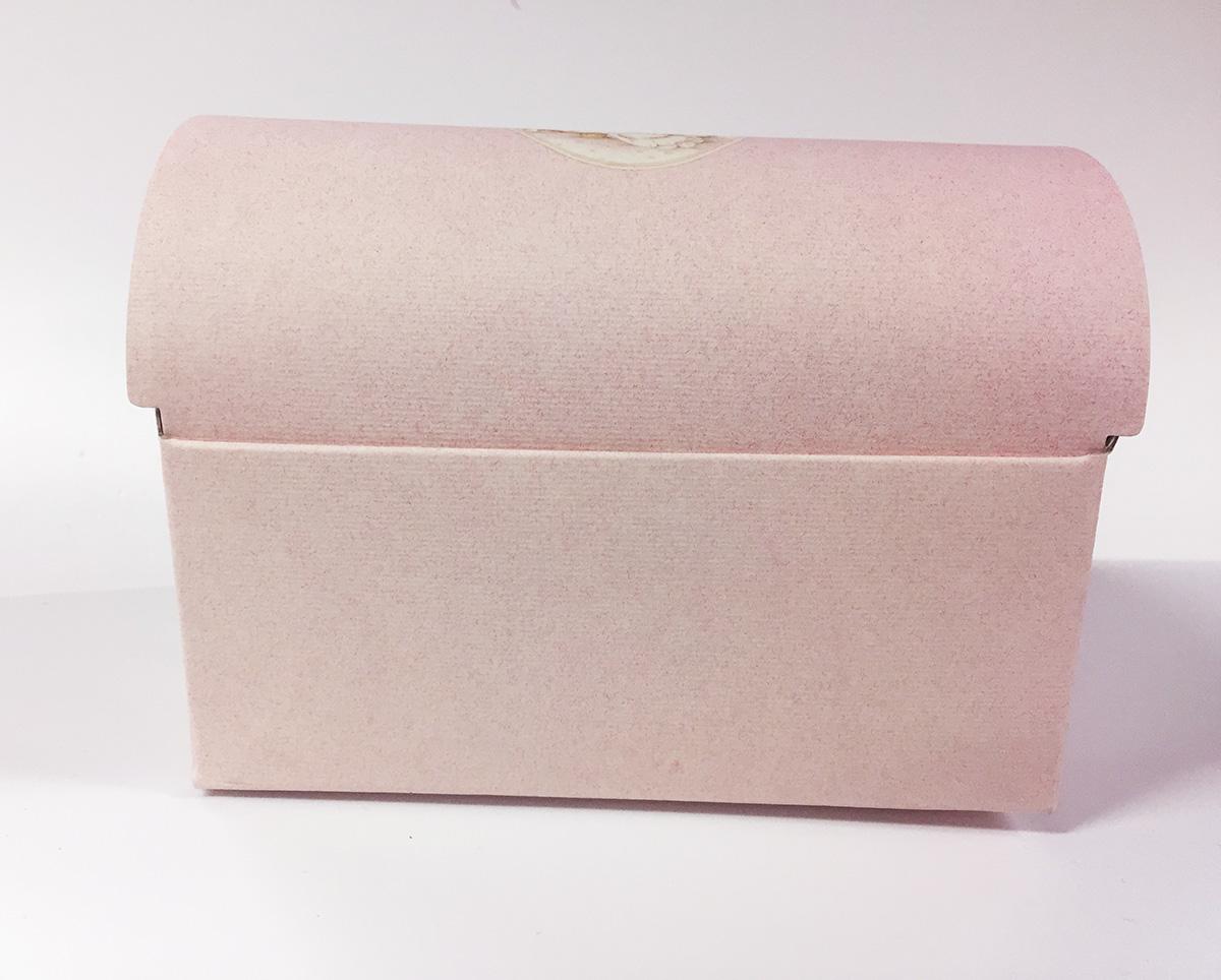 2 Mini coffres en carton rose avec ourson
