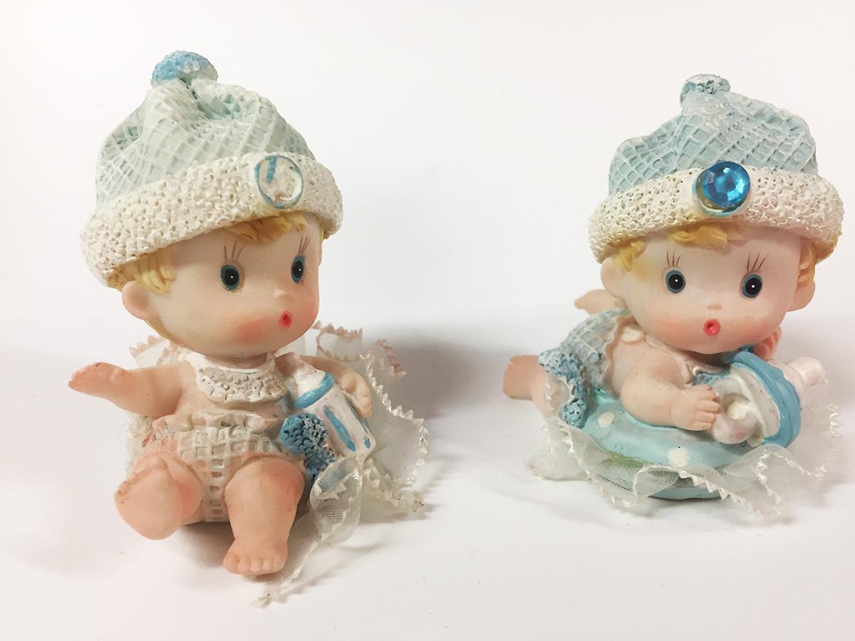 2 Figurines en résine Bebe bleu