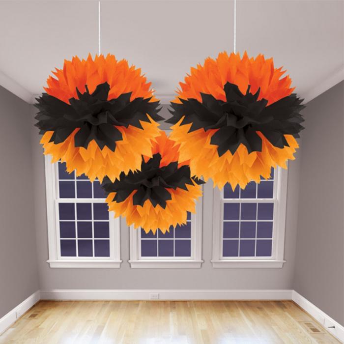 3 pompons fleurs papier Halloween orange et noire