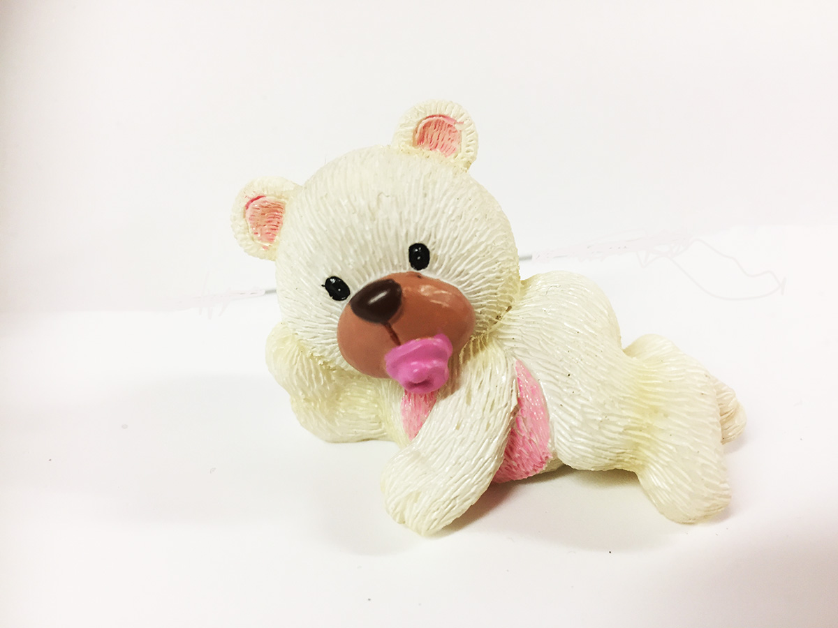 2 Figurines résine ourson blanc et rose