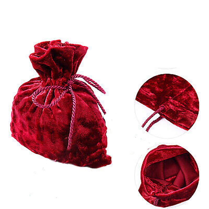 10 sachets en velours rouge pour dragées