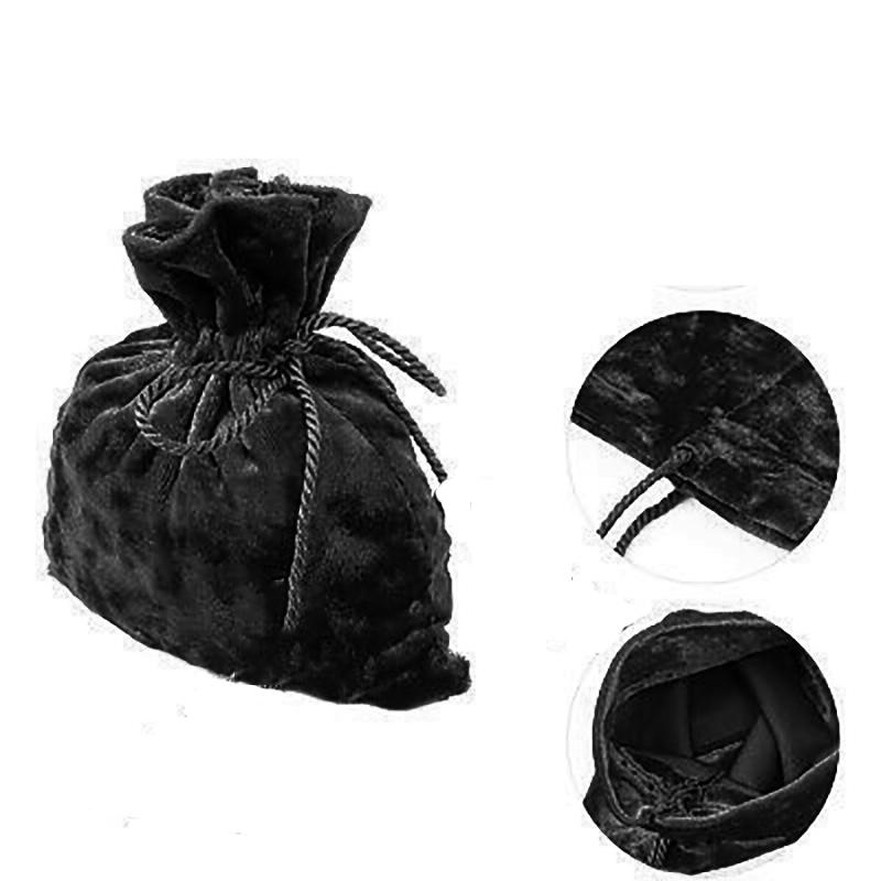 10 sachets en velours noir pour dragées