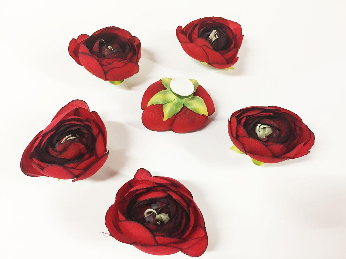 6 renoncules rouges