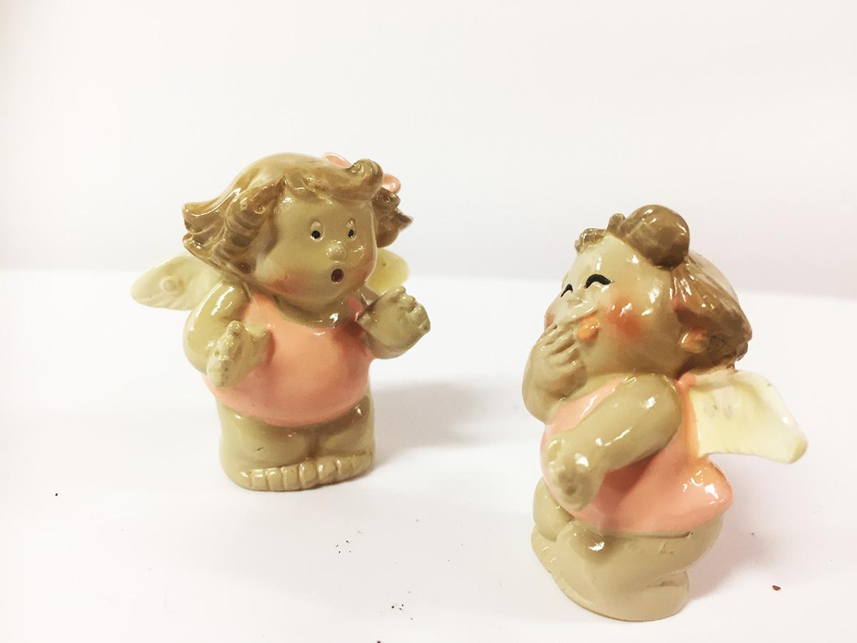 2 figurines angelots joufflus filles