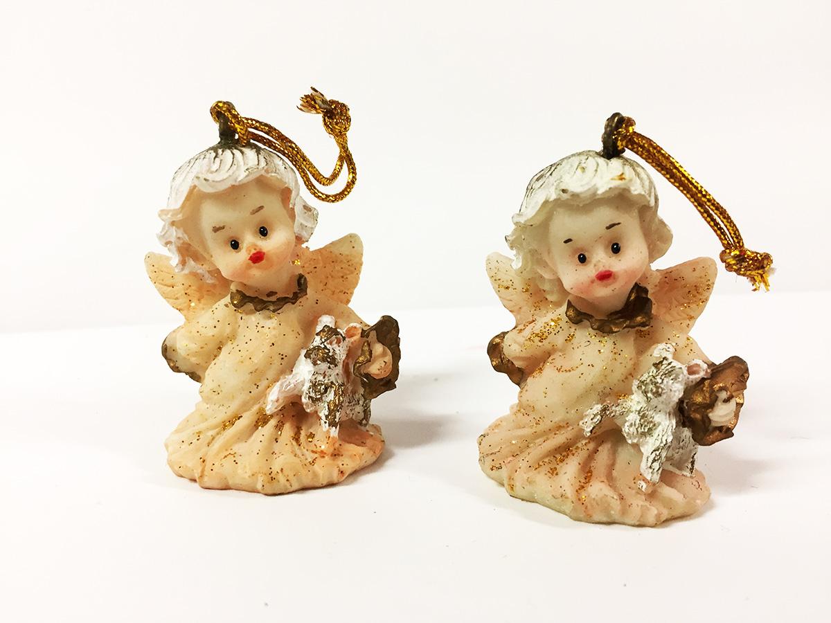 2 figurines résine anges pailletés rose poudrée